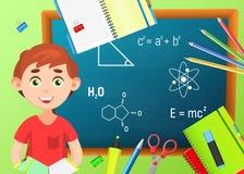 De nuevo a escuela De nuevo al cartel colorido de la escuela con la pizarra Imagen de archivo