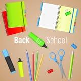 De nuevo a escuela De nuevo al cartel colorido de la escuela con las fuentes de escuela Ilustración del vector Fotografía de archivo libre de regalías