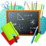 De nuevo a escuela De nuevo al cartel colorido de la escuela con las fuentes de la pizarra y de escuela Foto de archivo