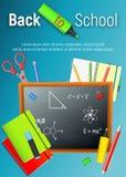 De nuevo a escuela De nuevo al cartel colorido de la escuela con las fuentes de la pizarra y de escuela en fondo azul Vector Imágenes de archivo libres de regalías