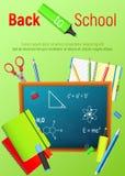 De nuevo a escuela De nuevo al cartel colorido de la escuela con las fuentes de la pizarra y de escuela Graphhics del vector Imagen de archivo libre de regalías