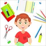De nuevo a escuela De nuevo al cartel colorido de la escuela con las fuentes y el muchacho de escuela Foto de archivo