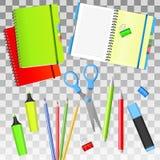 De nuevo a escuela De nuevo a objetos de la escuela i Fuentes de escuela aisladas Graphhics del vector Imágenes de archivo libres de regalías