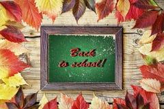 De nuevo a escuela, diseño de la escuela del fondo de la hoja del marco del otoño Fotos de archivo libres de regalías