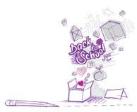 De nuevo a escuela doodles (fuera de objetos del rectángulo) Imagen de archivo libre de regalías