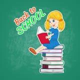 de nuevo a escuela, el estudiar de la niña libre illustration