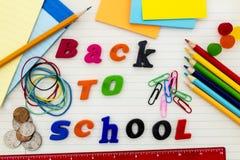De nuevo a escuela el mensaje suministra el estímulo Imágenes de archivo libres de regalías