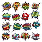 De nuevo a escuela en burbujas cómicas del discurso Imagen de archivo libre de regalías