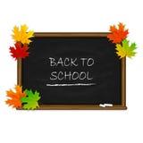 De nuevo a escuela en la pizarra negra con las hojas de arce Fotografía de archivo libre de regalías