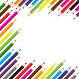 De nuevo a escuela fondo coloreado del lápiz Fotografía de archivo