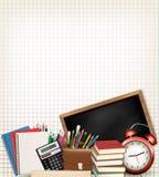De nuevo a escuela Fondo de la educación con las fuentes de escuela stock de ilustración