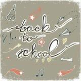 De nuevo a escuela garabatea con la campana, las estrellas, los corazones y las flechas Ilustración del vector stock de ilustración