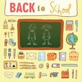 De nuevo a escuela, iconos, ejemplo del vector Fotografía de archivo libre de regalías