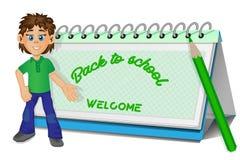 De nuevo a escuela Imagen del vector del muchacho y del calendario Foto de archivo libre de regalías