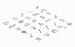 De nuevo a escuela Isométrico isométrico determinado de los elementos del dibujo con una hoja en una caja para la educación con l Fotos de archivo libres de regalías