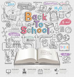 De nuevo a escuela la idea garabatea iconos y abre el libro Imagen de archivo libre de regalías