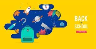 De nuevo a escuela, a la mochila con la burbuja del discurso y a muchos iconos de la educación, elementos Dise?o de concepto del  libre illustration