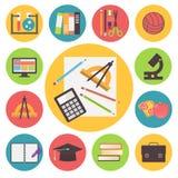De nuevo a escuela, los iconos del vector fijaron, diseño plano Fotos de archivo libres de regalías
