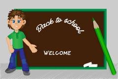 De nuevo a escuela Muchacho, consejo escolar, lápiz, imagen del vector Imágenes de archivo libres de regalías