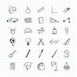De nuevo a escuela Sistema de elementos del dibujo con una hoja en una caja para la educación con los accesorios endolar Ilustrac Fotografía de archivo