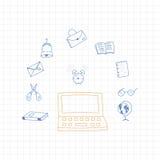 De nuevo a escuela Sistema de elementos del dibujo con una hoja en una caja para la educación con los accesorios endolar Ilustrac Fotos de archivo libres de regalías