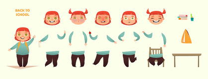 De nuevo a escuela Sistema de la creación del carácter Diversos emociones y gestos Ejemplo del plano-estilo de la historieta Fotografía de archivo