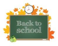 De nuevo a escuela Tablero verde en un fondo de las hojas de arce del otoño Imagenes de archivo
