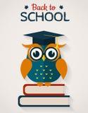 De nuevo a escuela Tarjeta con el búho sabio Ilustración del vector Imagen de archivo libre de regalías