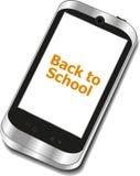 De nuevo a escuela, teléfono móvil con de nuevo a palabras de la escuela aislado en blanco Fotos de archivo