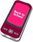 De nuevo a escuela, teléfono móvil con de nuevo a palabras de la escuela aislado en el fondo blanco Foto de archivo