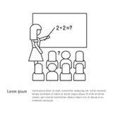 De nuevo a escuela - un profesor en el consejo escolar enseña a estudiantes en una lección de la escuela Icono del vector en una  stock de ilustración