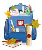 ¡De nuevo a escuela! Bolso de escuela con los objetos de la educación. Imagen de archivo