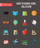 De nuevo a escuela y a iconos planos de la educación con el ordenador, abra el libro, escritorio, globo Elementos de papel de las Fotografía de archivo libre de regalías