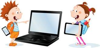 De nuevo a estudiante de la escuela, muchacha y muchacho con la tableta, teléfono elegante y cuaderno - diseño plano del vecto stock de ilustración
