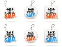 De nuevo a etiquetas de la venta de la escuela Fotos de archivo libres de regalías