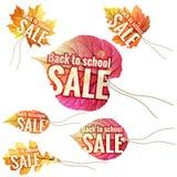 De nuevo a etiquetas de la venta de la escuela EPS 10 Imagen de archivo libre de regalías