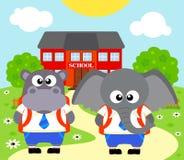 De nuevo a fondo de la escuela con el elefante, hipopótamo Imagen de archivo