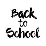 De nuevo a fondo del blanco de Logo Hand Drawn Text On de la escuela Fotos de archivo