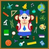 De nuevo a fondo inconsútil de la escuela con el mono Imagen de archivo libre de regalías
