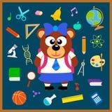De nuevo a fondo inconsútil de la escuela con el oso Fotografía de archivo