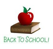 De nuevo a la escuela Apple y al libro Imagen de archivo libre de regalías