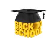 De nuevo a la escuela (concepto creativo del texto) Palabras amarillas con el casquillo graduado Fotos de archivo libres de regalías