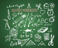 De nuevo a la escuela - conjunto de doodles de la escuela stock de ilustración