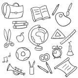 De nuevo a la escuela - conjunto del doodle de la escuela Foto de archivo