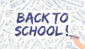 De nuevo a la escuela - dibujos de materiales de oficina en el papel cuadriculado ilustración del vector