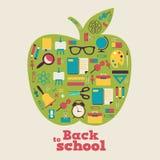 De nuevo a la escuela - fondo con la manzana y los iconos Imágenes de archivo libres de regalías