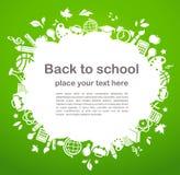 De nuevo a la escuela - fondo con los iconos de la educación Imagen de archivo libre de regalías