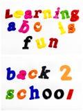 De nuevo a la escuela que aprende el ABC de la diversión Foto de archivo