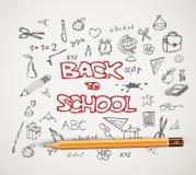 De nuevo a la escuela - sistema de ejemplos del garabato de la escuela stock de ilustración