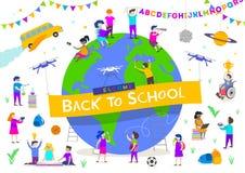 De nuevo a la ilustración de la escuela Grupo de niños activos alrededor de un globo gigante Caracteres de los niños que hacen di stock de ilustración